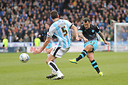 Sheffield Wednesday midfielder Ross Wallace (33)  with a shot during the Sky Bet Championship match between Huddersfield Town and Sheffield Wednesday at the John Smiths Stadium, Huddersfield, England on 2 April 2016. Photo by Simon Davies.