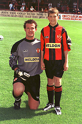STEVE WILSON WITH MASCOT, Kettering  Town v Peterborough United, Maunsell Cup Rockingham Road 5th March 2000