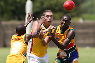 POTCHEFSTROOM, SOUTH AFRICA - JANUARY 28, Koolyn Briggs (Moonee Ponds, VIC) of the Australian Boomerangs during the AFL Game 1 match between the Flying Boomerangs and South African Lions under 18's at Mohadin Cricket Ground on January 28, 2013 in Potchefstroom, South Africa.Photo by Roger Sedres /Image SA
