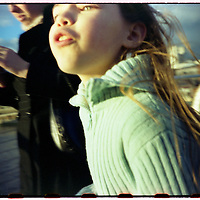 A girl crosses the Millenium bridge, in London, on Deceber 24, 2012.