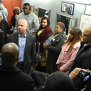 University of Delaware Associate professor Yasser A. Payne Ph.D. (Center) organizes a candid conversation with Delaware Gov. Jack Markell (CENTER) and members of the east side community Monday, Jan. 05, 2015 in Wilmington, DE.