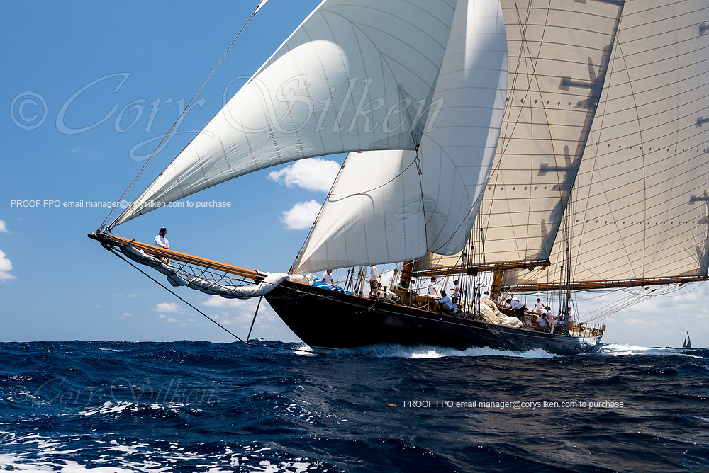 Mariette sailing in the Antigua Classic Yacht Regatta, Old Road Race.