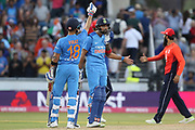 Virat Kohli (Capt) hits the winning runs during the International T20 match between England and India at Old Trafford, Manchester, England on 3 July 2018. Picture by George Franks.