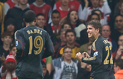 LONDON, ENGLAND - Wednesday, October 28, 2009: Liverpool's Emiliano Insua celebrates scoring the equalising goal against Arsenal during the League Cup 4th Round match at Emirates Stadium. (Photo by David Rawcliffe/Propaganda)