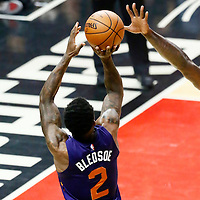 31 October 2016: Phoenix Suns guard Eric Bledsoe (2) takes a jump shot over Los Angeles Clippers center DeAndre Jordan (6) during the Los Angeles Clippers 116-98 victory over the Phoenix Suns, at the Staples Center, Los Angeles, California, USA.