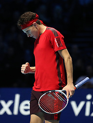 Dominic Thiem reacts during his singles match against Grigor Dimitrov during day two of the NITTO ATP World Tour Finals at the O2 Arena, London.