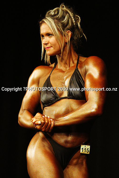 Mandi Matheson competes in the Open Women Over-55kg class.<br /> NZFBB Bodybuilding Championships at Memorial Theatre, Victoria University, Wellington. Saturday, 19 September 2009. Photo: Dave Lintott/PHOTOSPORT