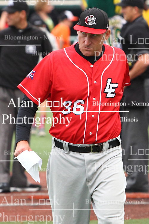 19 June 2015:  Lake Erie Crushers Field Manager Chris Mongiardo during a Frontier League Baseball game between the Lake Erie Crushers and the Normal CornBelters at Corn Crib Stadium on the campus of Heartland Community College in Normal Illinois