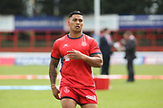 Hull Kingston Rovers winger Junior Vaivai (2) warming up prior to  the Betfred Super League match between Hull Kingston Rovers and Leeds Rhinos at the Lightstream Stadium, Hull, United Kingdom on 29 April 2018. Picture by Mick Atkins.