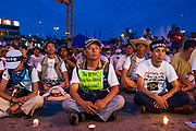 12 SEPTEMBER 2003 - CANCUN, QUINTANA ROO, MEXICO:  South Korean protesters in Cancun at a memorial service for Lee Kyung-hae, a South Korean farmer who committed ritual suicided during a protest against liberalizing agricultural trade at the WTO. Tens of thousands of protesters, mostly farmers, came to Cancun for the fifth ministerial of the World Trade Organization (WTO). They were protesting against developed nations pushing to get access to agricultural markets in developing nations. The talks ultimately collapsed after no progress with no agreements reached between the participants.          PHOTO BY JACK KURTZ