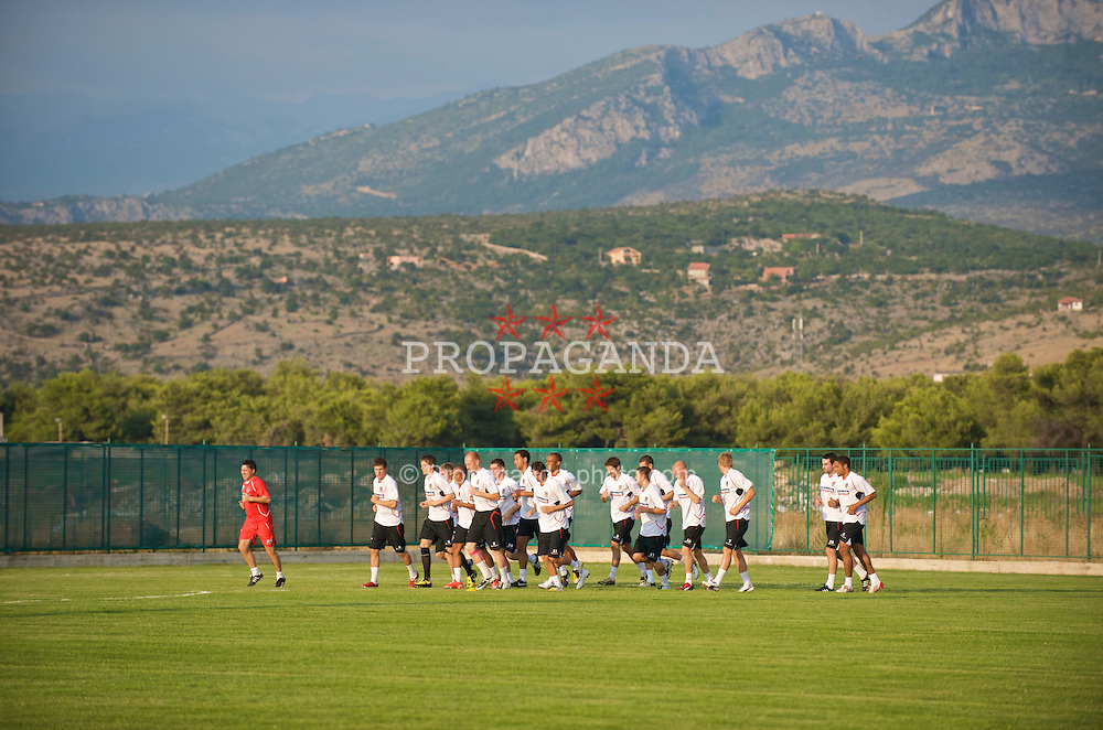 PODGORICA, MONTENEGRO - Monday, August 10, 2009: Wales' players during a training session ahead of the international friendly match against Montenegro. (Photo by David Rawcliffe/Propaganda)