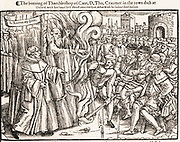 Foxe's Book of Martyrs. A woodcut illustration depicting the execution by burning at the stake, of Archbishop Thomas Cranmer