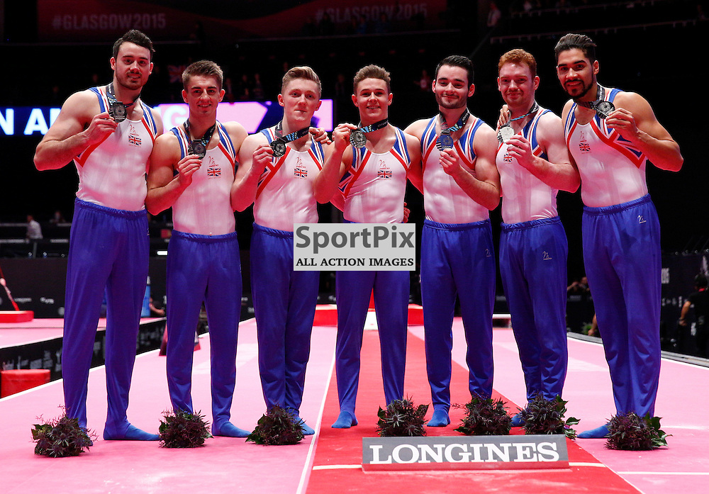 2015 Artistic Gymnastics World Championships being held in Glasgow from 23rd October to 1st November 2015....Team Great Britain celebrate winning silver in the Men's Team Final...(c) STEPHEN LAWSON | SportPix.org.uk