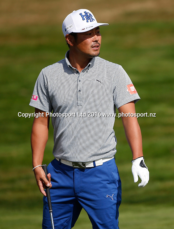 Japan's Hideto Tanihara during Round 4 at The Hills during 2016 BMW ISPS Handa New Zealand Open. Sunday 13 March 2016. Arrowtown, New Zealand. Copyright photo: Michael Thomas / www.photosport.nz