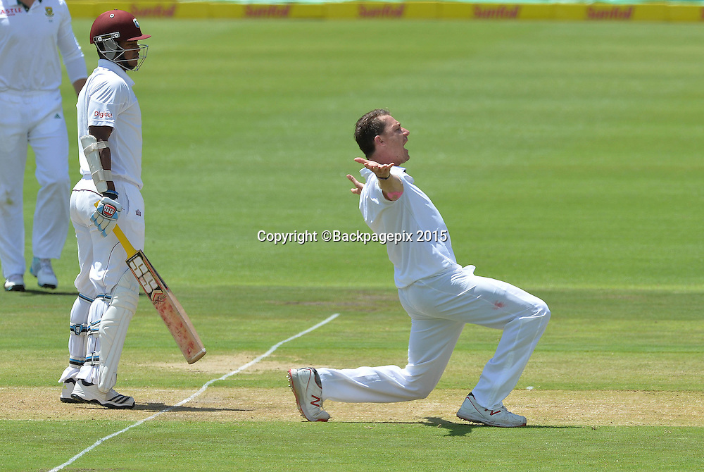 Dale Steyn of South Africa appeals unsuccessfully against Leon Johnson of the West Indies during Day 1 of the 2015 Sunfoil Test Series Cricket Match between South Africa and the West Indies at Newlands Stadium, Cape Town on 2 January 2015 ©Chris Ricco/BackpagePix