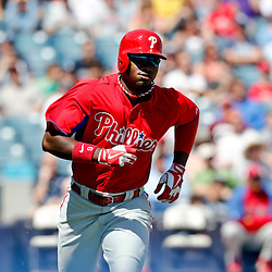Mar 16, 2013; Tampa, FL, USA; Philadelphia Phillies right fielder Domonic Brown (9) against the New York Yankees during a spring training game at George Steinbrenner Field. Mandatory Credit: Derick E. Hingle-USA TODAY Sports