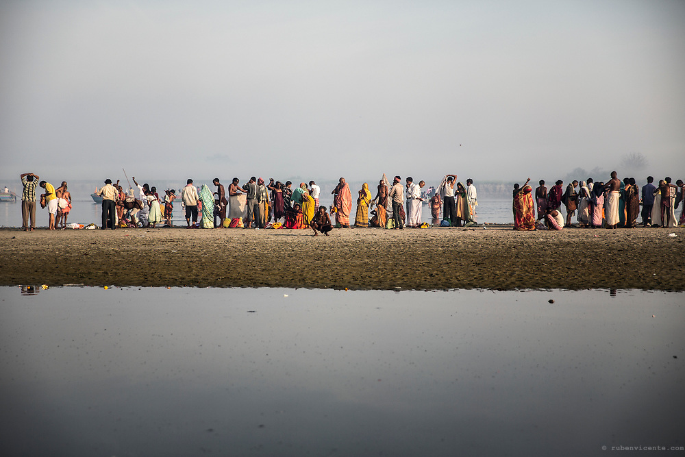 Morning ritual in the Yamuna river. Vrindavan, India