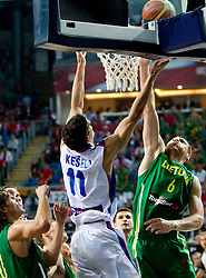 Marko Keselj of Serbia vs Jonas Maciulis of Lithuania during the third-place basketball match between National teams of Serbia and Lithuania at 2010 FIBA World Championships on September 12, 2010 at the Sinan Erdem Dome in Istanbul, Turkey. Lithuania defeated Serbia 99 - 88 and win placed third.  (Photo By Vid Ponikvar / Sportida.com)