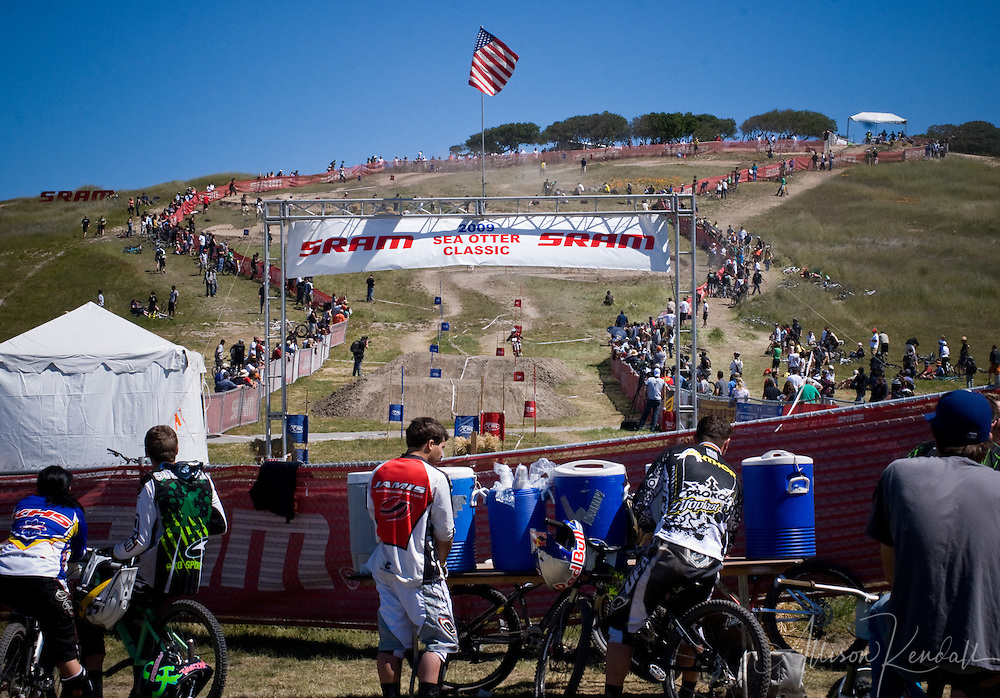 A view up the hill from the finish of the SRAM downhill course at the Sea Otter Classic 2009