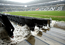 Snow in the stands at StadiumMK ahead of the Sky Bet League One match between Milton Keynes Dons and Bristol Rovers - Mandatory by-line: Robbie Stephenson/JMP - 03/03/2018 - FOOTBALL - Stadium MK - Milton Keynes, England - Milton Keynes Dons v Bristol Rovers - Sky Bet League One