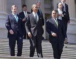 (L-R) Irish Prime Minister Edna Kenny, U.S. President Barack Obama and House Speaker John Boehner walk out of Capitol Hill after the annual St. Patrick s Day luncheon in Washington D.C., capital of the United States, March 19, 2013. Photo by Imago / i-Images...UK ONLY.