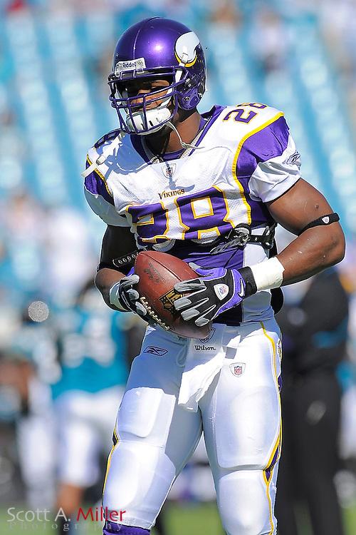 Jacksonville, FL; Nov 23, 2008 ---  Minnesota Vikings running back Adrian Peterson (28) prior to the Vikings game against the Jacksonville Jaguars at Jacksonville Municipal Stadium. ..©2008 Scott A. Miller