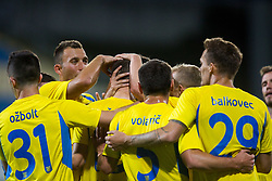 Players of NK Domzale celebrate during 1st leg match of 1st Round Qualifications for European League, on June 28, 2017 in Arena Petrol, Celje, Slovenia. Photo by Ziga Zupan / Sportida