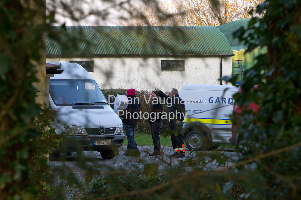 1/2/2012.The scene at the farmhouse near Freshford County Kilkenny yesterday where a cannabis grow house was discovered..Picture Dylan Vaughan...