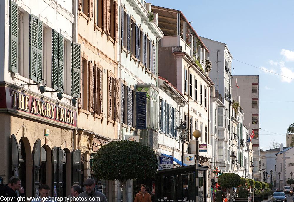 Historic buildings in street, Gibraltar