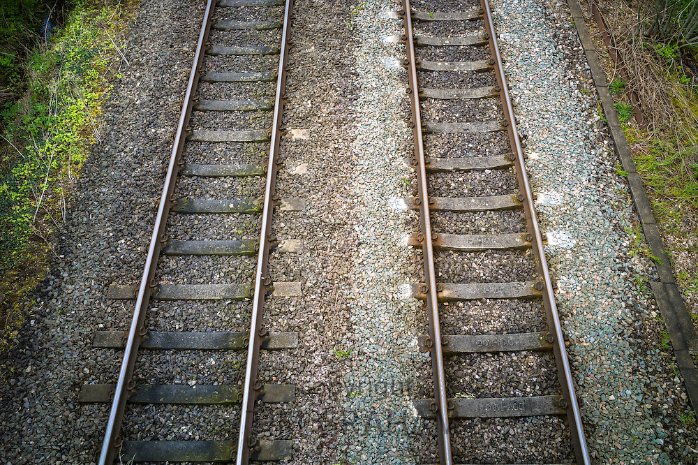 Railway track on train line near Kingham in Oxfordshire, UK