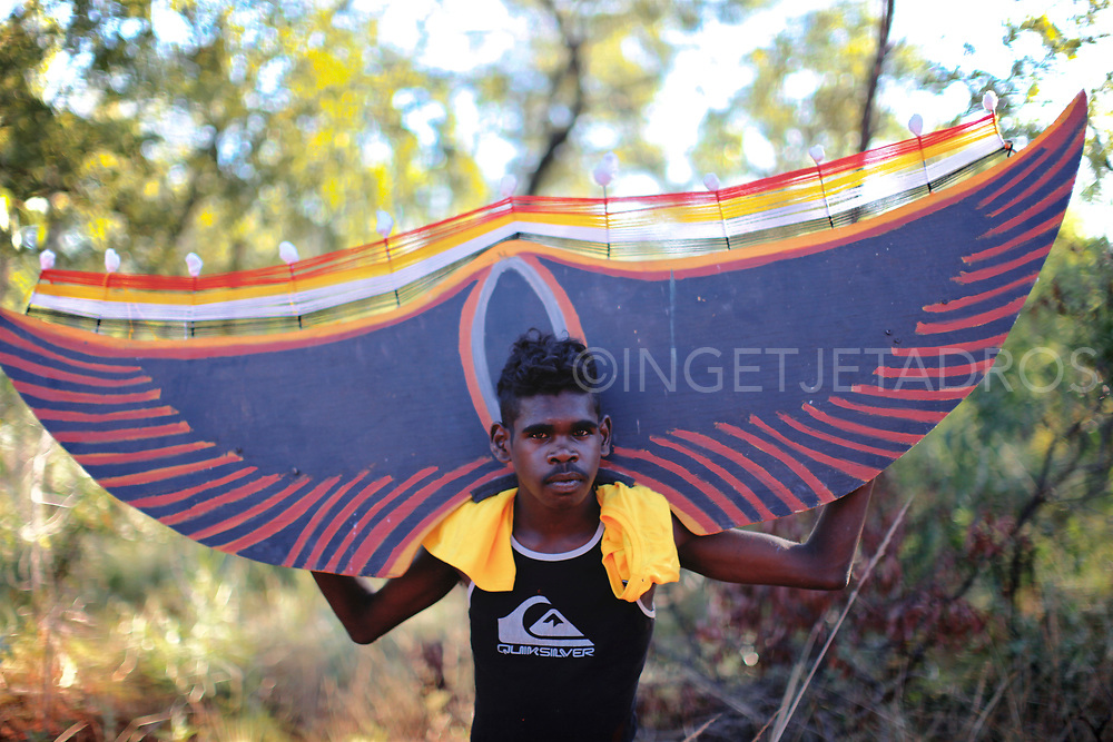 Modern day materials are used to create large banners for the largest Aboriginal corroboree in Mowanjum, Derby, WA