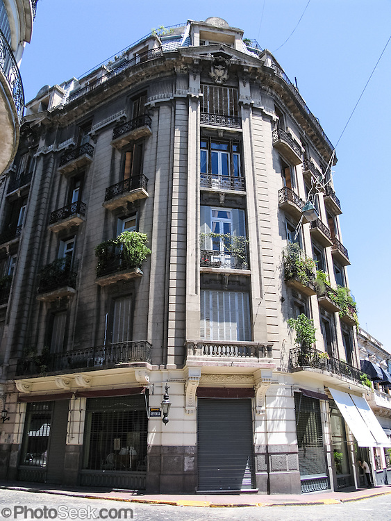 """Admire well-preserved old buildings in San Telmo, an historic neighborhood in the heart of old Buenos Aires, Argentina, South America. San Telmo (""""Saint Pedro González Telmo"""") is the oldest barrio (neighborhood) of Buenos Aires."""