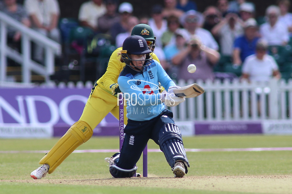 Tammy Beaumont of England (12) nurdles a run during the Royal London Women's One Day International match between England Women Cricket and Australia at the Fischer County Ground, Grace Road, Leicester, United Kingdom on 4 July 2019.