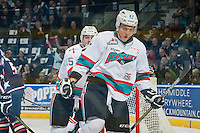 KELOWNA, CANADA - JANUARY 9: Calvin Thurkauf #27 of Kelowna Rockets celebrates a goal against the Tri City Americans on January 9, 2016 at Prospera Place in Kelowna, British Columbia, Canada.  (Photo by Marissa Baecker/Shoot the Breeze)  *** Local Caption *** Calvin Thurkauf;