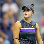 2019 US Open Tennis Tournament- Day Ten.  Bianca Andreescu of Canada in action against Elise Mertens of Belgium in the Women's Singles Quarter-Finals match on Arthur Ashe Stadium during the 2019 US Open Tennis Tournament at the USTA Billie Jean King National Tennis Center on September 4th, 2019 in Flushing, Queens, New York City.  (Photo by Tim Clayton/Corbis via Getty Images)