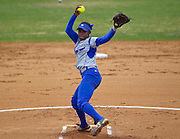 Hampton University Junior Travonna Byrd pitches in the first game of Hampton's doubleheader split against Morgan State University at the Lady Pirates Softball Complex on the campus of Hampton University in Hampton, Virginia.  (Photo by Mark W. Sutton)