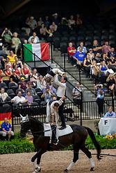 STOPAZZINI Silvia (ITA), GIANNINI Greta (ITA), LUPACCHINI Lorenzo (ITA), BORDOGNA Andrea (ITA), CHIMIRRI Yannik (ITA), BORTOLETTO Francesco (ITA), Hot Date Tek<br /> Tryon - FEI World Equestrian Games™ 2018<br /> Team C.I.M.<br /> Nations Team Vaulting Championship<br /> 19. September 2018<br /> © www.sportfotos-lafrentz.de/Stefan Lafrentz
