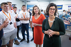 © Licensed to London News Pictures . 16/09/2019. Bournemouth, UK. Party leader JO SWINSON (c) and Shadow Education Secretary LAYLA MORAN (r) visit Bournemouth College STEM Centre, which trains apprentices for industry, during the Liberal Democrat Party Conference at the Bournemouth International Centre . Photo credit: Joel Goodman/LNP