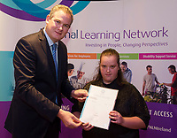 Sean Kyne TD Minister of State for Community Affairs, Natural Resources and Digital Development, presenting certificate to  Grace Burke with  QQI level3 in Word Processing. Photo:Andrew Downes, xposure .