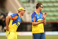 Matthew Hayden of the Chennai Super Kings and Doug Bollinger of the Chennai Super Kings laugh during the Superkings training session held at St Georges Park in Port Elizabeth on the 20 September 2010..Photo by: Shaun Roy/SPORTZPICS/CLT20