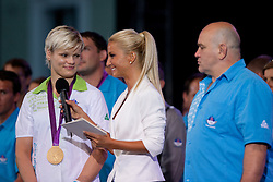 Urska Zolnir and Anja Bohinc during reception of Slovenian Olympic Team at Kongresni Trg when they came back from London after Summer Olympic games 2012, on August 14, 2012 in Center of Ljubljana, Slovenia (Photo by Matic Klansek Velej / Sportida.com)