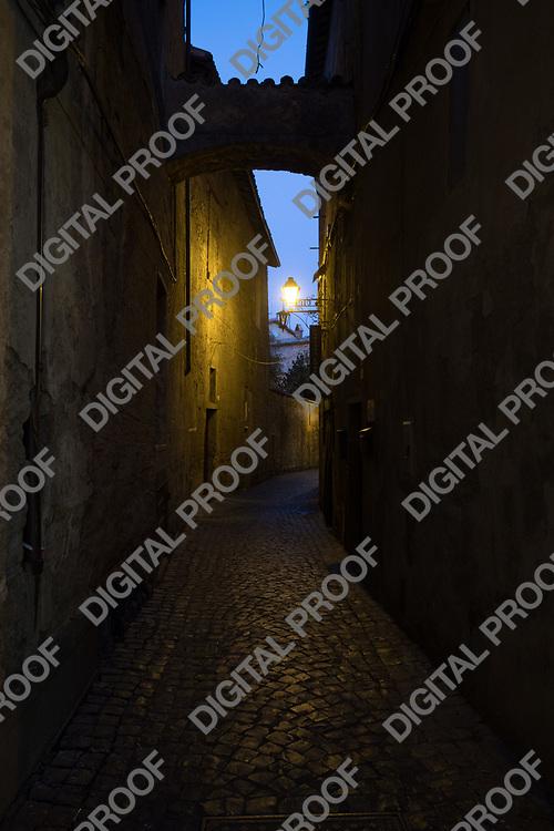 Orvieto empty cobble street