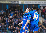 Gillingham forward Rory Donnelly is frustrated after hitting the post during the Sky Bet League 1 match between Gillingham and Swindon Town at the MEMS Priestfield Stadium, Gillingham, England on 6 February 2016. Photo by David Charbit.
