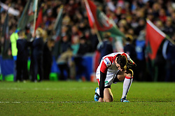 Ruan Pienaar (Ulster) takes a moment to compose himself prior to the match - Photo mandatory by-line: Patrick Khachfe/JMP - Tel: Mobile: 07966 386802 18/01/2014 - SPORT - RUGBY UNION - Welford Road, Leicester - Leicester Tigers v Ulster Rugby - Heineken Cup.