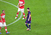 Lionel Messi during the Group G UEFA Champions League match between FC Barcelona and Spartak Moscow at the Nou Camp, Barcelona, Spain 19th September 2012. Credit - Eoin Mundow/Cleva Media.