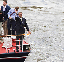 London Bridge, London, June 15th 2016. A flotilla of fishing boats led by UKIP's Nigel Farage heads through Tower Bridge in protest against the EU's Common Fisheries Policy and in support of Britain leaving the EU. PICTURED: With Nigel Farage in the bow his boat approaches London Bridge.
