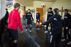 Players warm-up before first practice of Slovenian National Ice Hockey team before EIHC tournament in Innsbruck, on November 4, 2013 in Ledena dvorana Bled, Bled, Slovenia. (Photo by Matic Klansek Velej / Sportida.com)