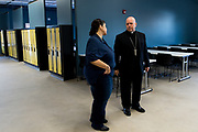 DENVER, CO - AUGUST 24: Denver Archbishop Samuel J. Aquila gets a tour of the Samaritan House Women's Shelter  during the grand opening event on August 24, 2017, in Denver, Colorado. (Photo by Anya Semenoff/for Catholic Charities)