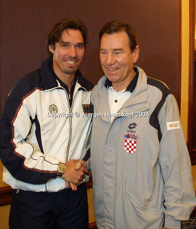 Davis Cup Captain Michael Stich und Niki Pilic, Davis Cup in Zagreb, Kroatien-Deutschand in der Dom Sportova Halle vom 08. bis 10.Februar 2002. Auslosung, Captain Michael Stich bei der Pressekonferenz, 07.02.2002.<br /> <br /> Tennis - Davis Cup 2002 - ITF Davis Cup -   Dom Sportova Halle - Zagreb -  - Croatia - 21 October 2004. <br /> &copy; Juergen Hasenkopf