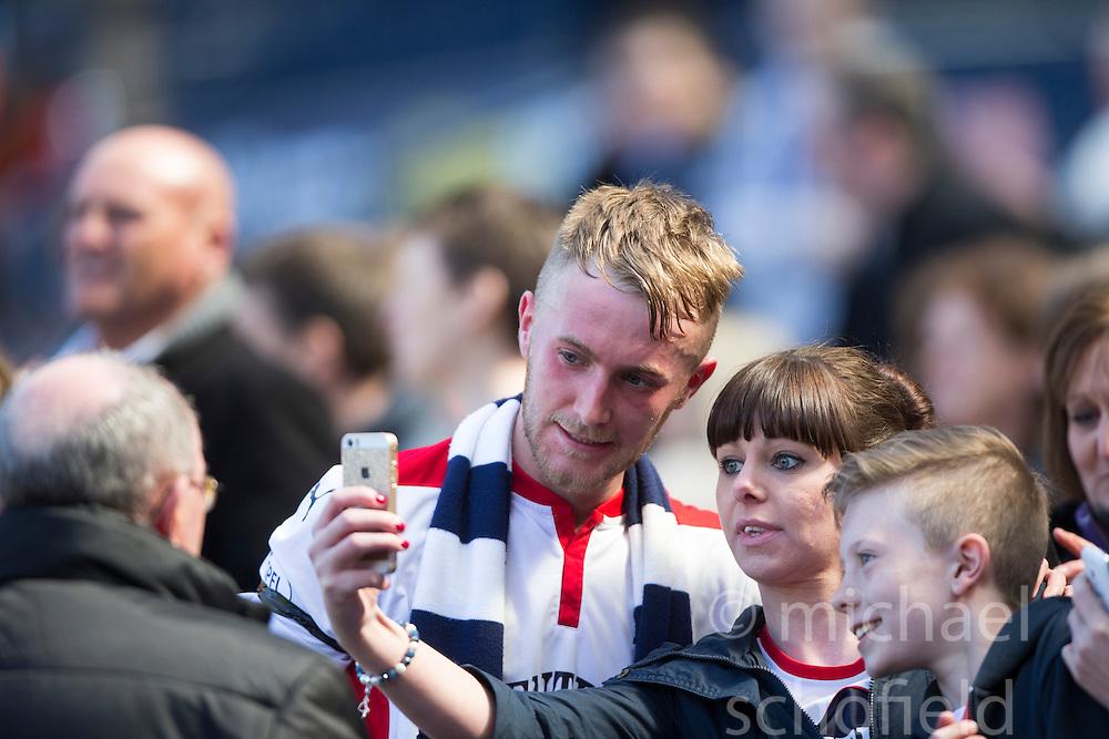 Falkirk's Craig Sibbald cele at the end.<br /> Hibernian 0 v 1 Falkirk, William Hill Scottish Cup semi-final, played 18/4/2015 at Hamden Park, Glasgow.